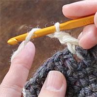 長編み表引き上げ編み[1] 針に糸をかけ、