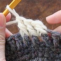 長編み表引き上げ編み[7] 3目編むとこのようになります。