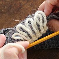 リング編み[8] 5目編むとこのようになります。