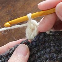前段の目を割って長編み5目編む[3] 前段の同じ目に針を入れて長編みを編み、2目めが編めました。
