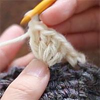 前段の目を束にすくって長編み5目編む[6] 同じところに針を入れて、4目めの長編みを編みました。