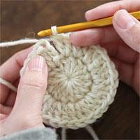 ループにくぐらせて引き締める[1] 段の最後の目を編み終えたら、最初の目に針を入れて引き抜き編みをします。