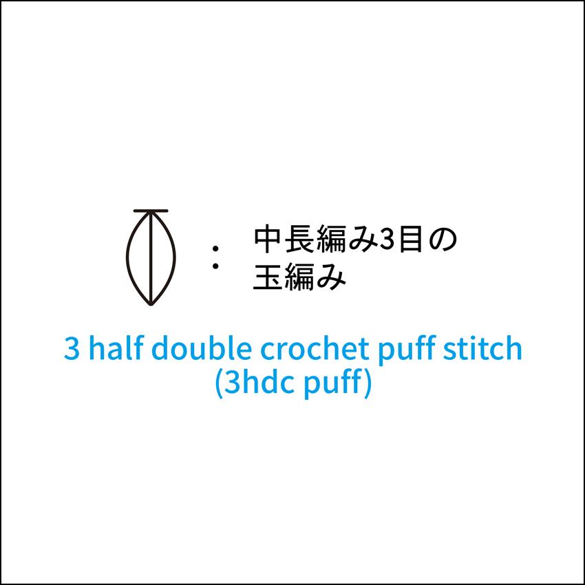 かぎ針編み 中長編み3目の玉編み 編み図記号と動画解説