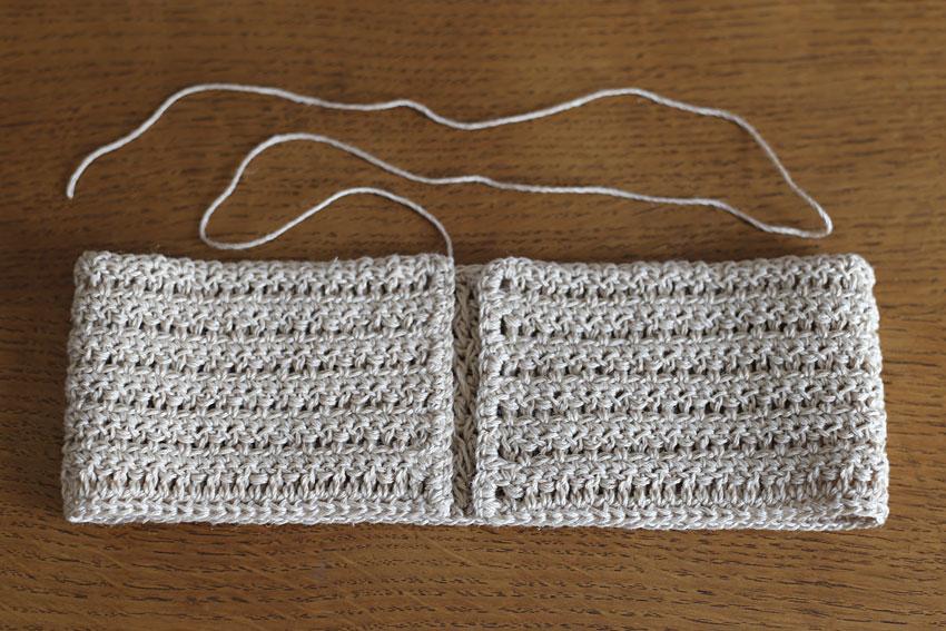 かぎ針編み クロスヘアバンド ②中表に折る