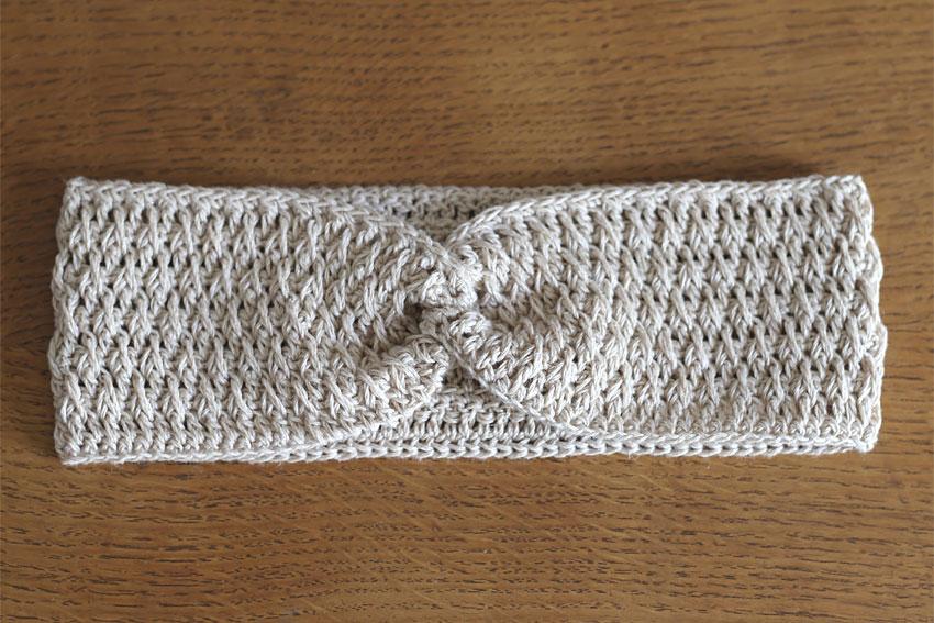 かぎ針編み クロスヘアバンド ⑪ヘアバンドが完成