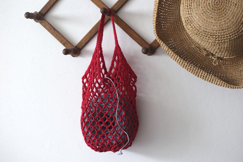 かぎ針編み ネットバッグ 糸を入れても
