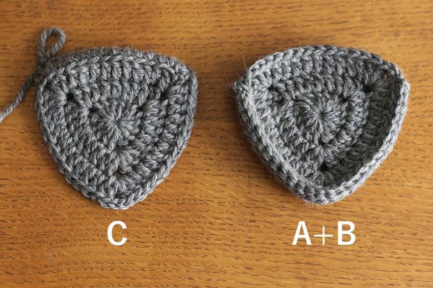 かぎ針編み エンブレムポーチ ⑦モチーフA+BとC