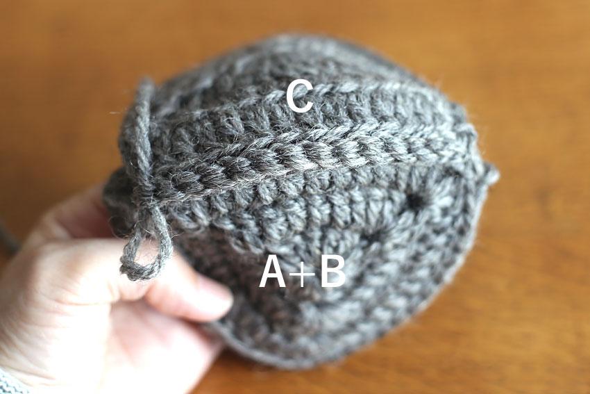 かぎ針編み エンブレムポーチ ⑪BとCをはぎ合せたところ