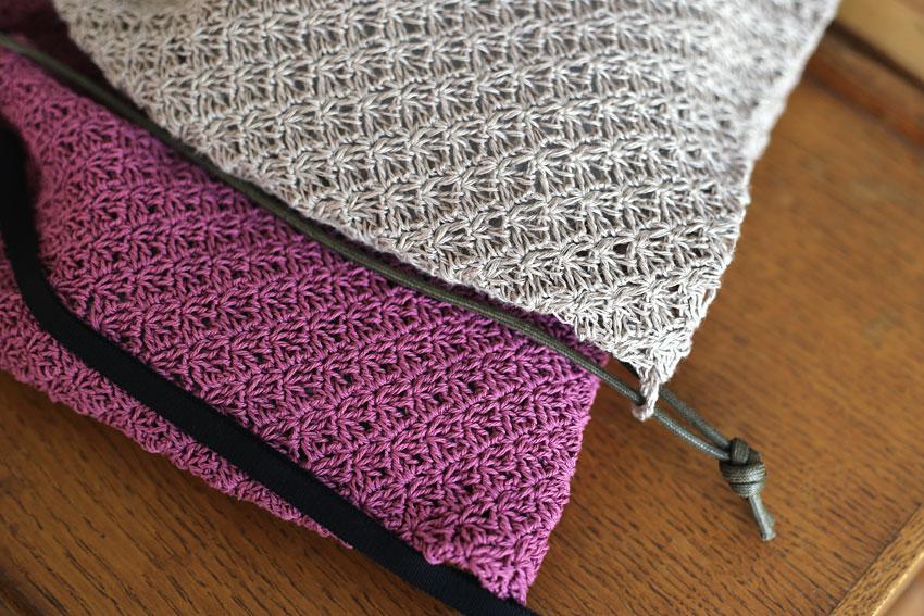 かぎ針編み ナップサック 編み地アップ